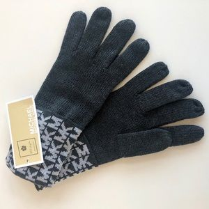 Michael Kors - MK Logo Knit Cuffed Gloves - Grey